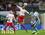 13.09.2017, Fussball UEFA Champions League 2017/2018,  Gruppenphase, 1.Spieltag, RB Leipzig - AS Monaco, in der Red Bull Arena Leipzig. v.l. Marcel Sabitzer (RB Leipzig) , Yussuf Poulsen (RB Leipzig) gegen Jemerson (AS Monaco) und Jorge (AS Monaco)