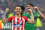 16.05.2018,  Fussball UEFA Europa-League Finale 2018, Olympique Marseille - Atletico Madrid, im Parc Olympique Lyonnais. Atletico Madrid gewinnt die Europa League,  v.l. Lucas Hernandez (Atletico Madrid) und Torwart Axel Werner (Atletico Madrid)