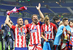 16.05.2018,  Fussball UEFA Europa-League Finale 2018, Olympique Marseille - Atletico Madrid, im Parc Olympique Lyonnais. Atletico Madrid gewinnt die Europa League , vorn v.l. Koke (Atletico Madrid) und Gabi (Atletico Madrid)