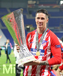 16.05.2018,  Fussball UEFA Europa-League Finale 2018, Olympique Marseille - Atletico Madrid, im Parc Olympique Lyonnais. Atletico Madrid gewinnt die Europa League , Fernando Torres (Atletico Madrid) mit dem Pokal