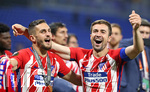16.05.2018,  Fussball UEFA Europa-League Finale 2018, Olympique Marseille - Atletico Madrid, im Parc Olympique Lyonnais. Atletico Madrid gewinnt die Europa League , v.l. Koke (Atletico Madrid) und Gabi (Atletico Madrid)