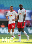 26.07.2018, Fussball UEFA Europa League 2018/2019,  2. Qualifikationsrunde, RB Leipzig - BK Häcken, in der Red Bull Arena Leipzig. v.l. Stefan Ilsanker (RB Leipzig) und Ibrahima Konate (RB Leipzig)