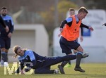 14.01.2020, Fussball 3. Bundesliga 2019/2020,  Trainingslager des TSV 1860 München in La Manga, Spanien. 2.Tag, Training am Nachmittag,  li: Kristian Böhnlein (TSV 1860 München) gegen Fabian Greilinger (TSV 1860 München)